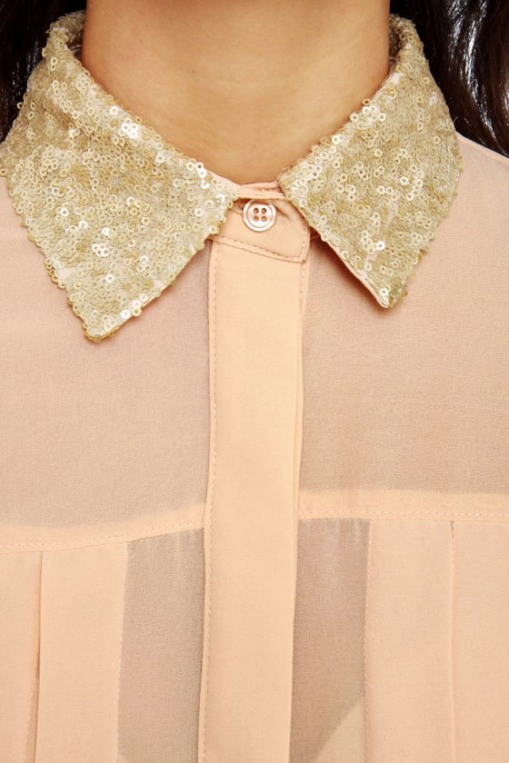 Claim to Fame Dusty Peach Sequin Top at Lulus.com!