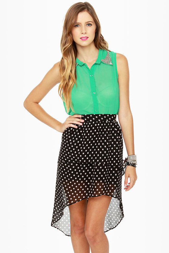 Element Eden Celina High-Low Polka Dot Skirt