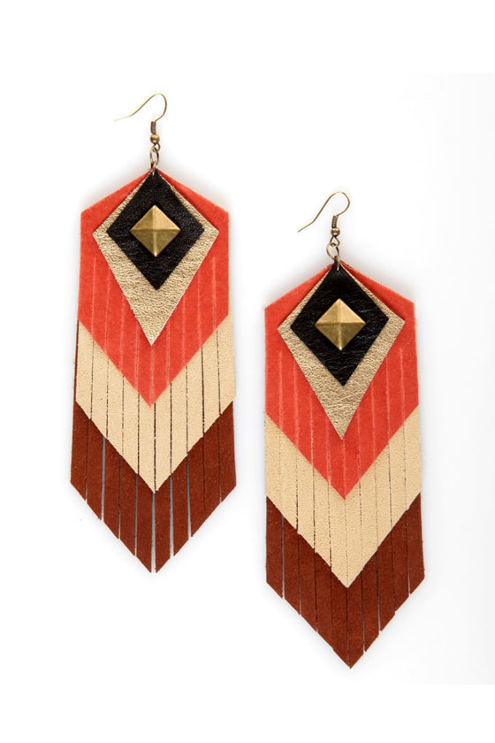 Claire Fong Mojave Leather Fringe Earrings at Lulus.com!