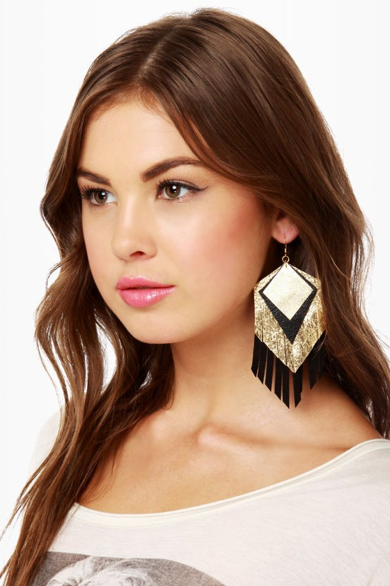 Claire Fonge Parton Fringe Earrings in Black and Gold