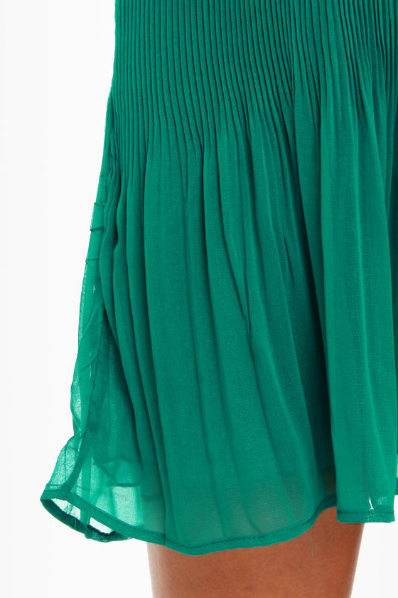 Crimped Cocktail Teal Dress