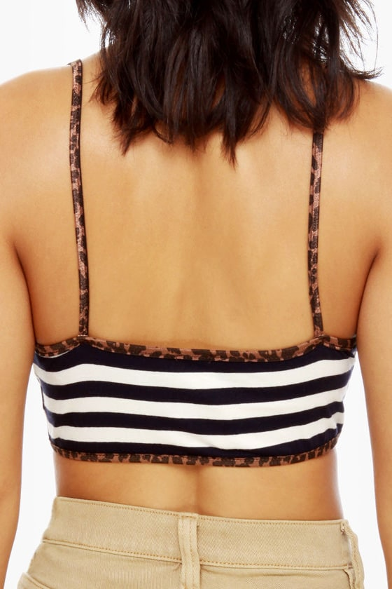 Half Time Navy Blue Striped Bra Top at Lulus.com!