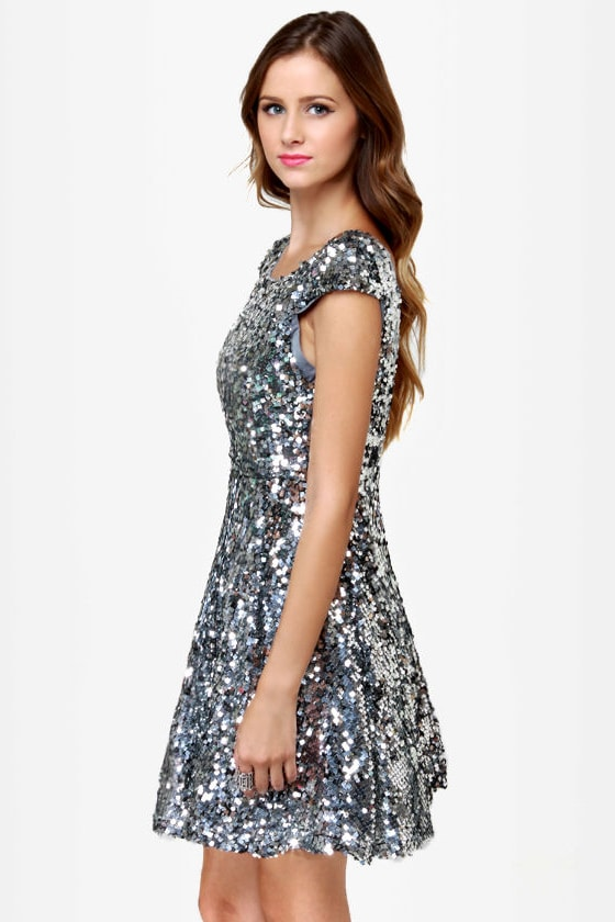 News Flash Silver Sequin Dress at Lulus.com!