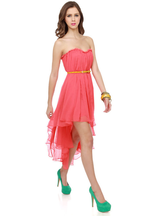 Blaque Label Aeriform Strapless Coral Dress