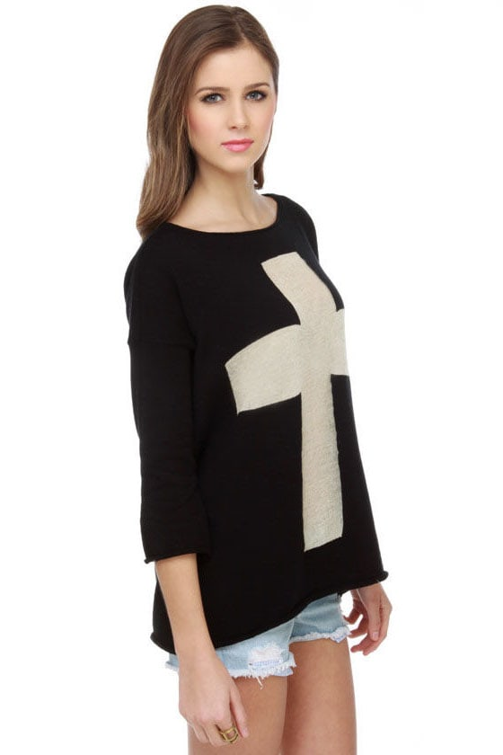 Brandy Melville Angelica Cross Print Sweater Top