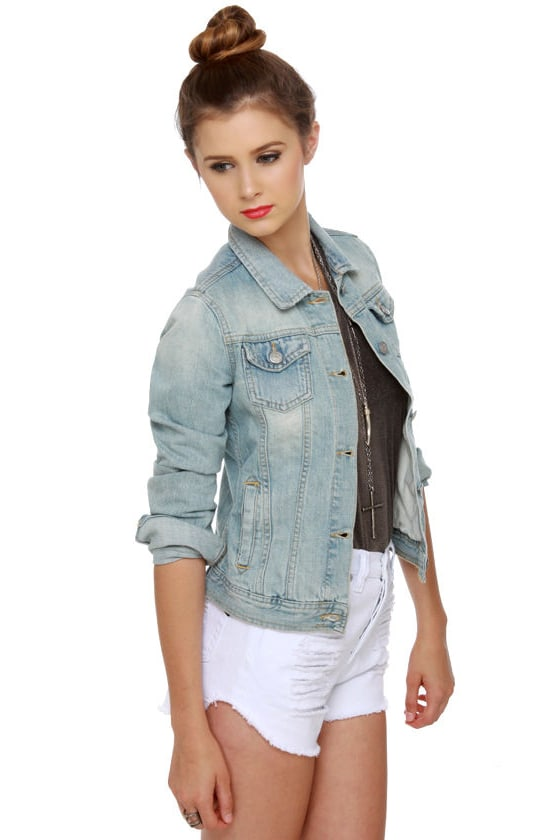 Brandy Melville Denim Jacket - Light Wash Denim Jacket - Jean Jacket ...
