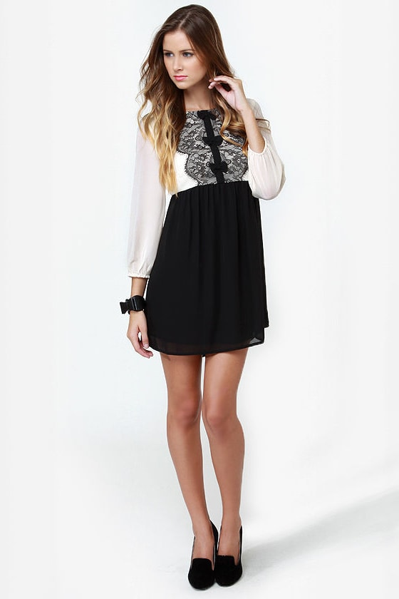 Darling Jasmine Black and Cream Babydoll Tunic