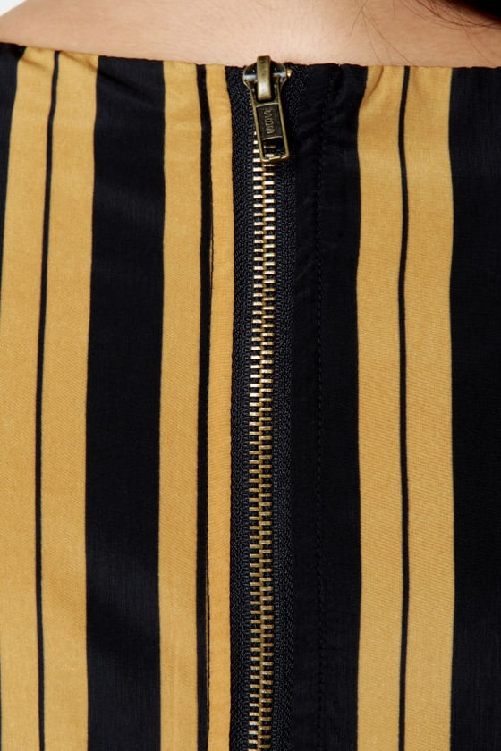 Darling Serena Black and Gold Striped Dress at Lulus.com!