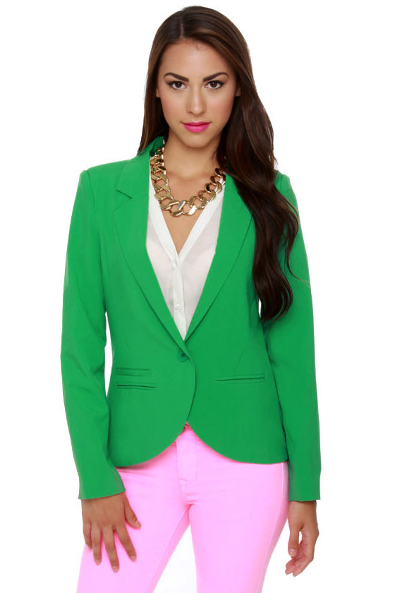 Kelly Green Blazer Womens Baggage Clothing
