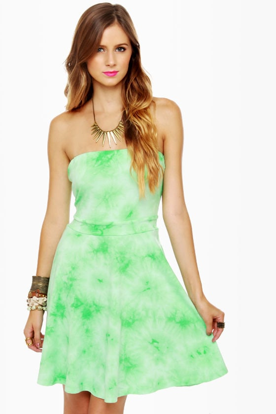 Tied and True Strapless Tie-Dye Green Dress