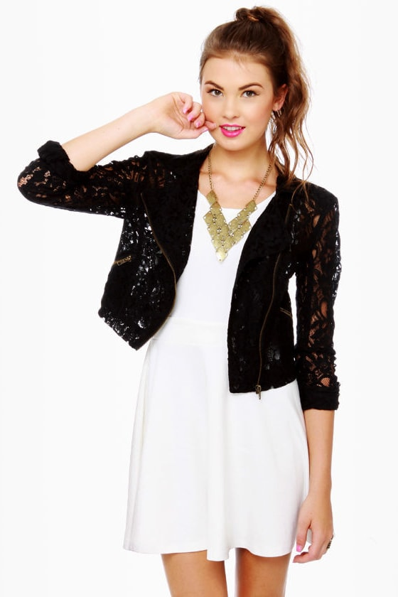 Motorella Black Lace Motorcycle Jacket
