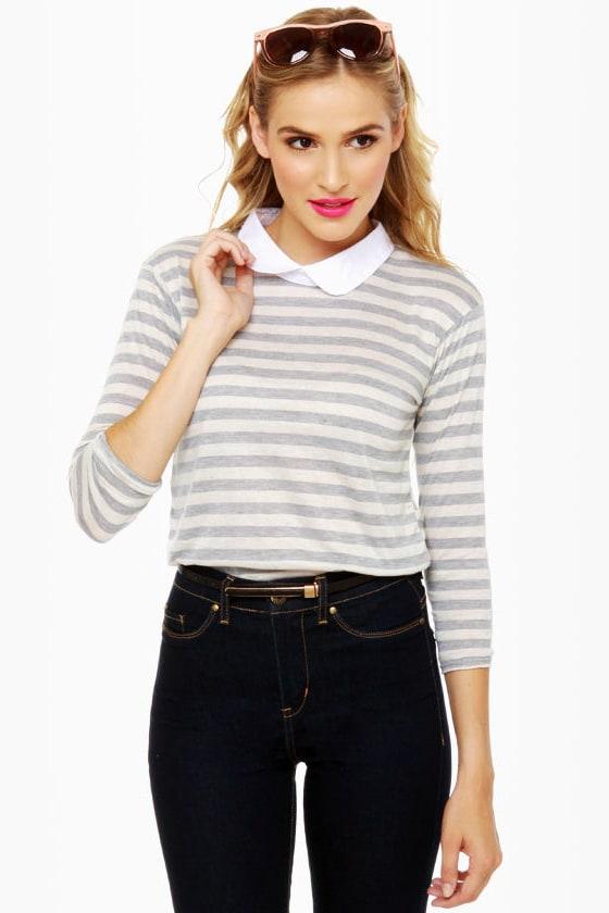 A Fine Line Grey Striped Top