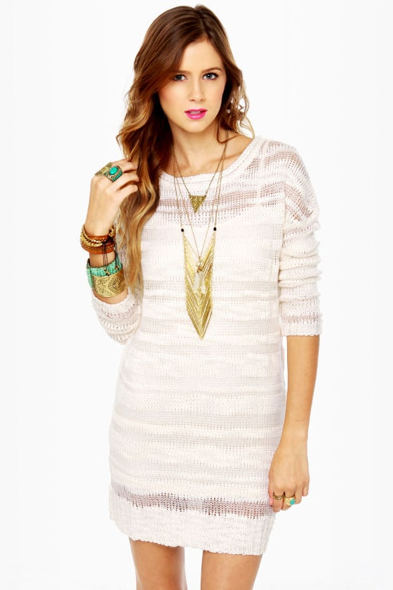 Element Eden Dominique Ivory Sweater Dress at Lulus.com!