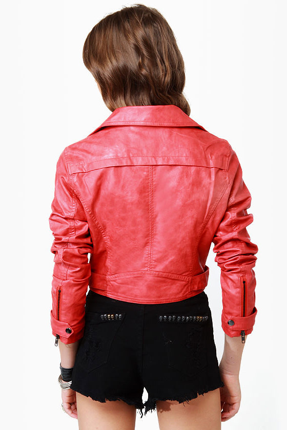 Thriller Coral Red Vegan Leather Jacket at Lulus.com!