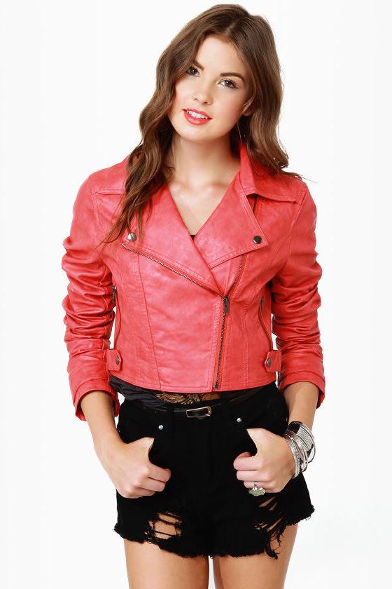 Thriller Coral Red Vegan Leather Jacket