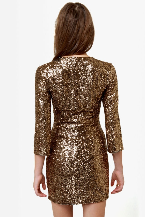 Solid Gold Dancer Gold Sequin Dress at Lulus.com!