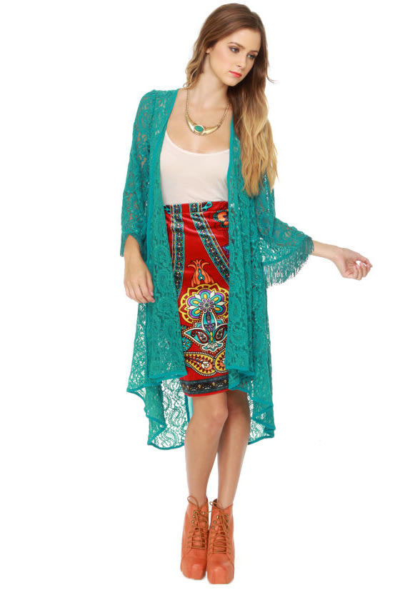 Bold as Love Teal Lace Jacket at Lulus.com!