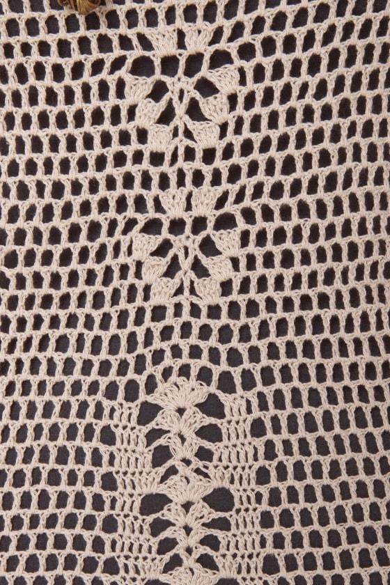 Think Nettin' of It Beige Crochet Dress at Lulus.com!