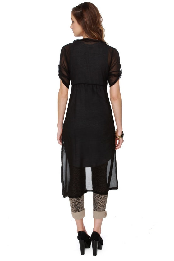 Layer Down Sally Sheer Black Top at Lulus.com!