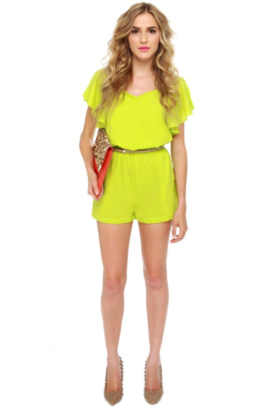 In the Limelight Lime Green Romper at Lulus.com!