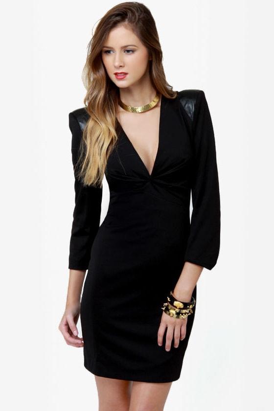 Edgy Black Dress Lbd Shoulder Pad Dress Structured