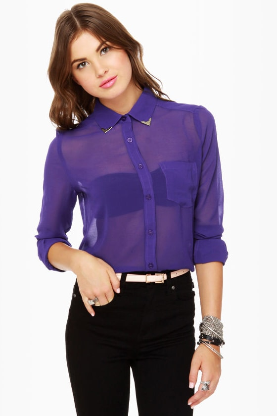 Gentleman Collar Sheer Indigo Blue Top