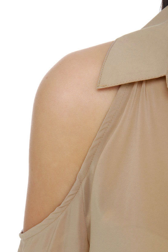 Now What Button-Down Taupe Dress