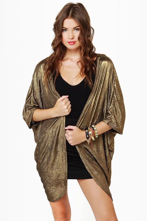 Metallic-kety Split Gold Top at Lulus.com!