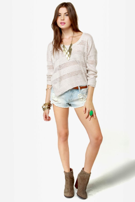 Mink Pink Trailer Park Slashed Jean Shorts at Lulus.com!