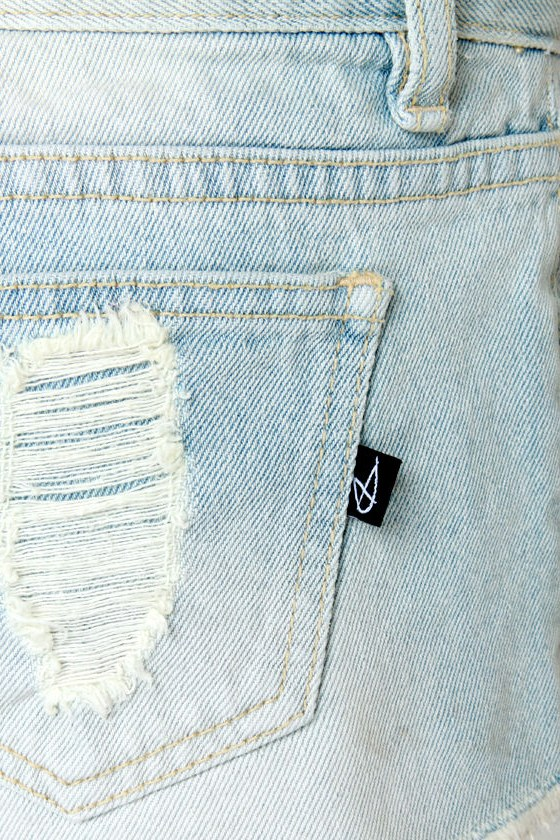 Mink Pink Trailer Park Slashed Jean Shorts