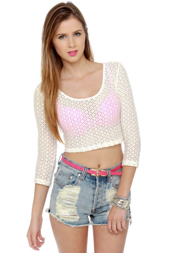 4d391cdc675de2 Mink Pink Valerie Sheer Lace Crop Top -  62   Fashion at Lulus.com