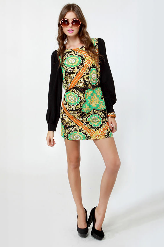 British Invasion Black Scarf Print Shift Dress