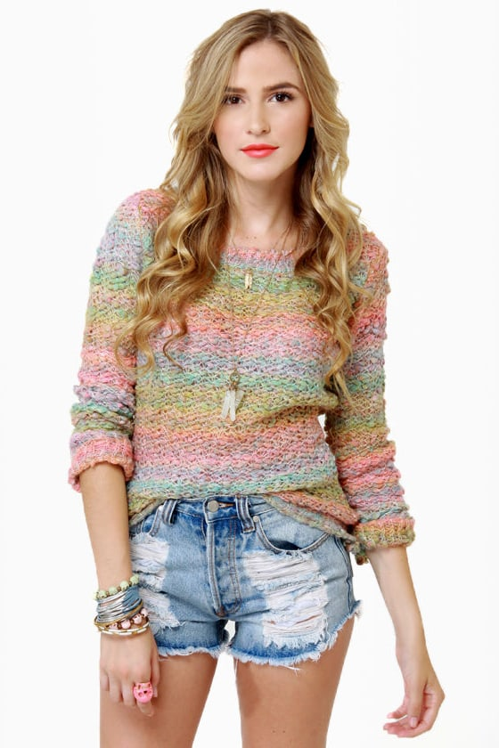 Sherbet-ter Than Ever Rainbow Sweater at Lulus.com!