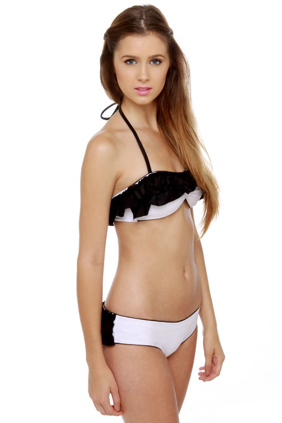 Mandalynn Gia Black and White Ruffle Bikini