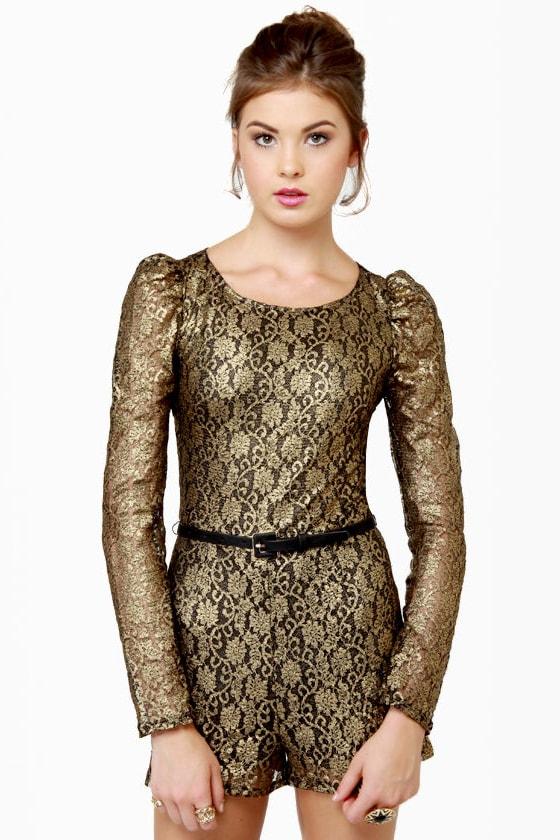 510581029ad Cute Lace Romper - Gold Romper - Black Romper -  45.00