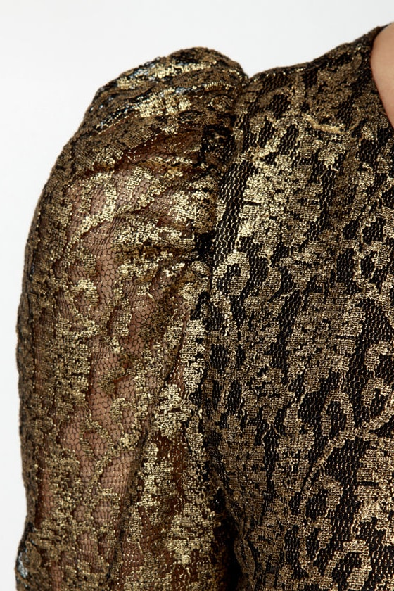 Sunset Hills Black and Gold Belted Lace Romper