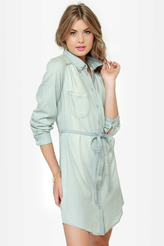 Buck Wild Studded Denim Shirt Dress