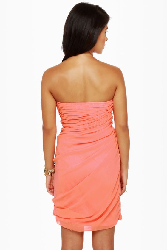Midnight Masquerade Strapless Peach Dress at Lulus.com!