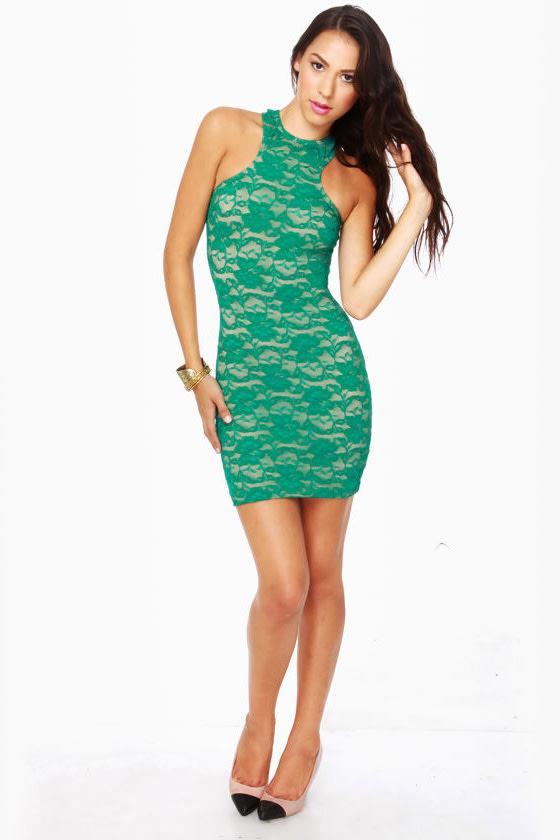 One Rad Girl Lauren Green Lace Dress