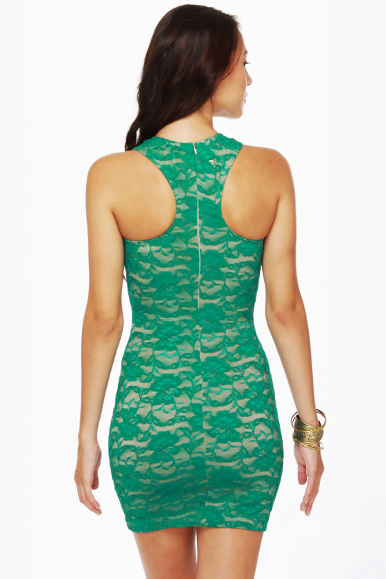 One Rad Girl Lauren Green Lace Dress at Lulus.com!