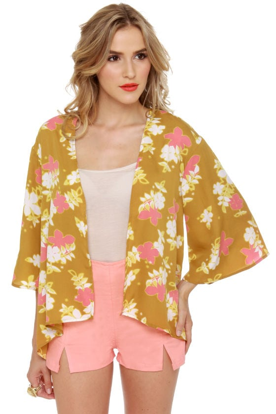 O'Neill Jenna Gold Floral Print Top at Lulus.com!