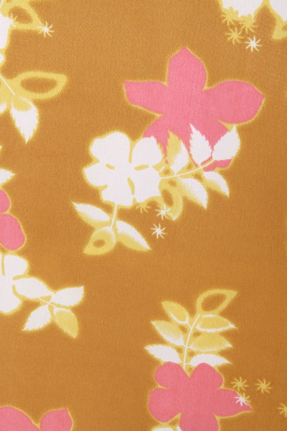 O'Neill Jenna Gold Floral Print Top