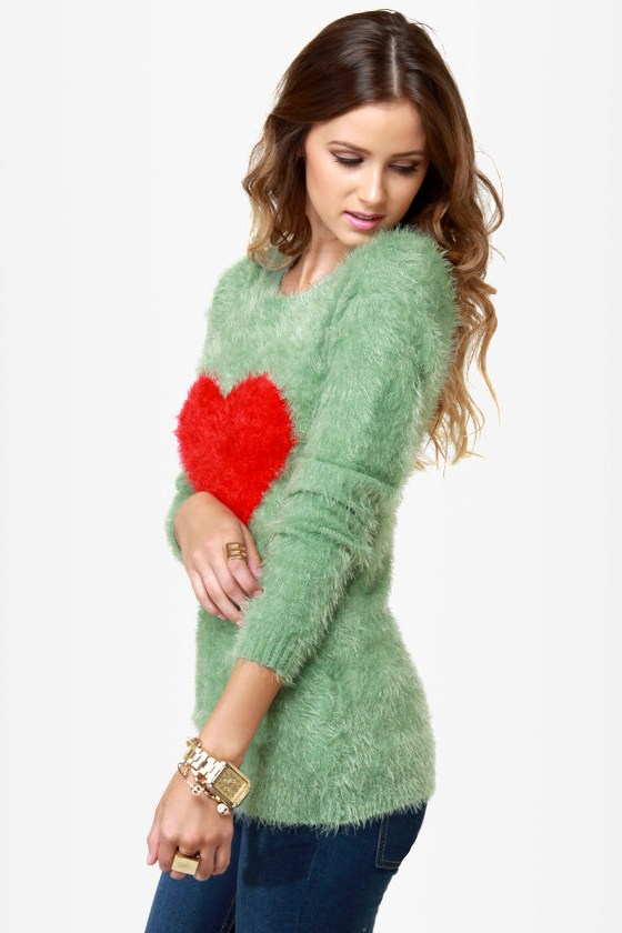 Heart to Handle Sage Green Sweater