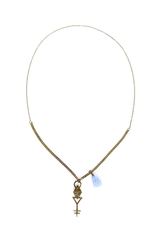 Obey Dark Crystal Gold Necklace at Lulus.com!