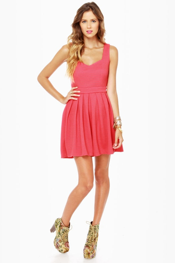 Heart-ware Store Cutout Coral Pink Dress