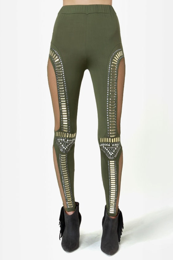 Did I Stud-her? Studded Olive Green Leggings at Lulus.com!
