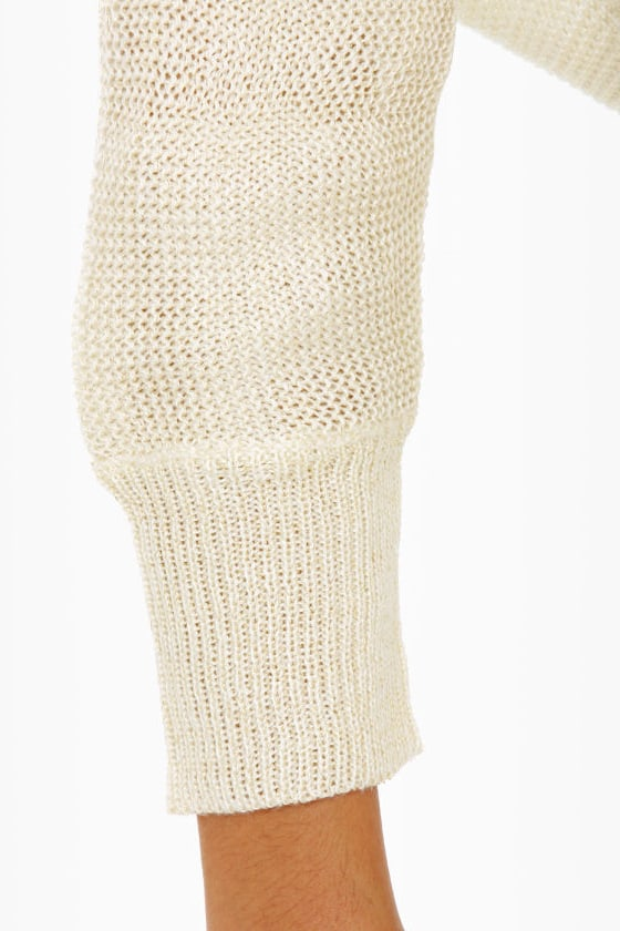 Knit and Run Glitter Ivory Sweater