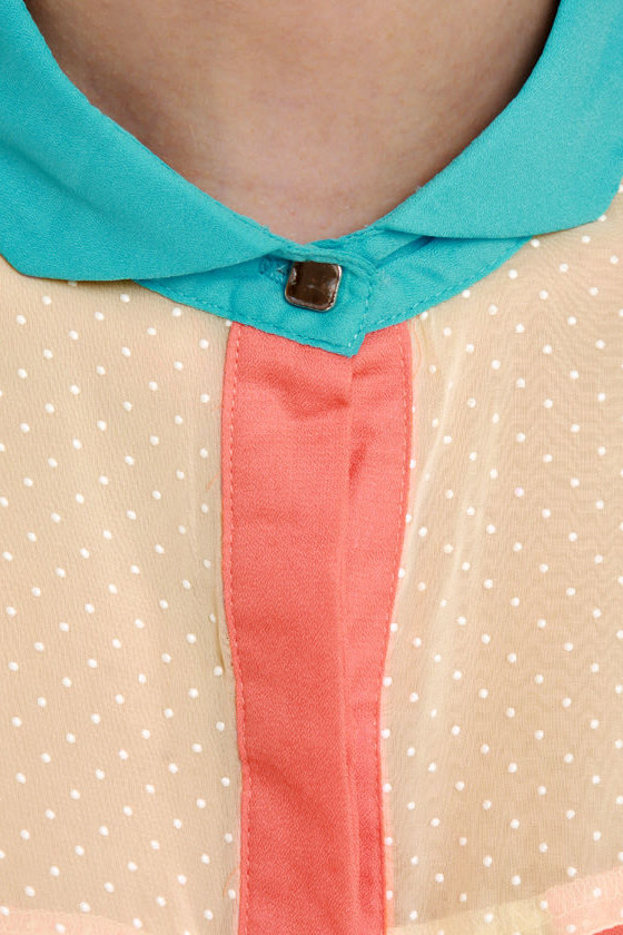 Dotted Bliss Cream Color Block Top