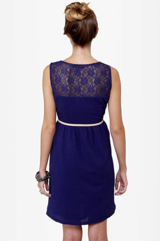 Indigogo Girl Blue Lace Dress at Lulus.com!