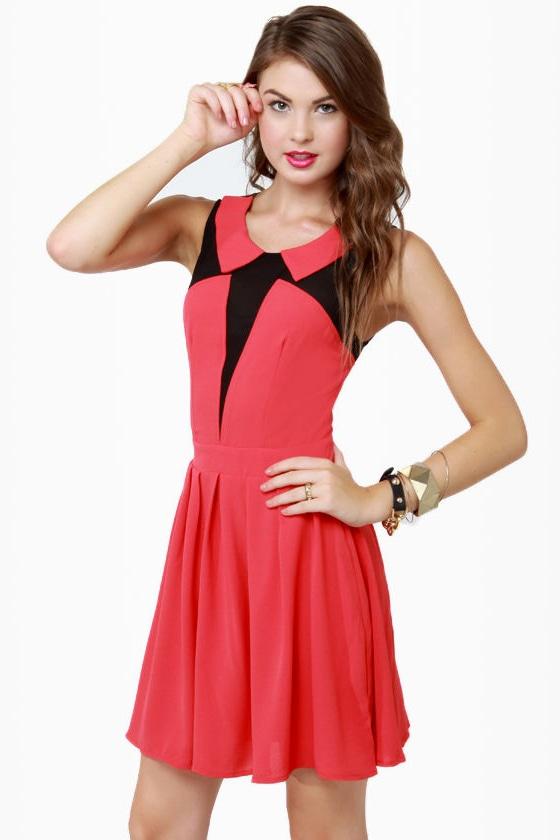 a5c62718b37 Sexy Red Dress - Collared Dress - Color Block Dress - Mesh Dress -  62.00